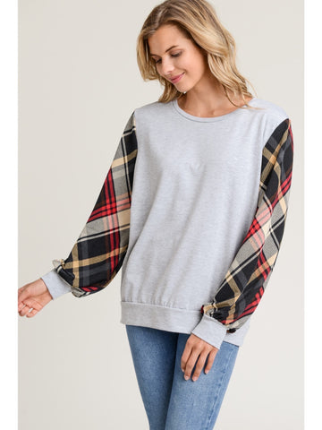 Gray with plaid sleeves top