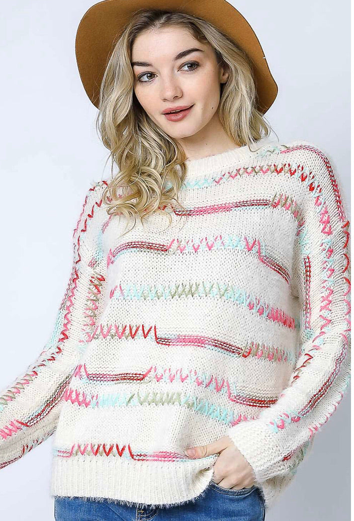 Colorful Stitch Sweater