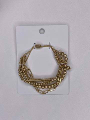 4 Row Chain & Ball Bead Bracelet