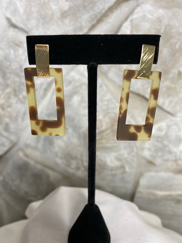 Acrylic Tortoise Rectangle Earrings