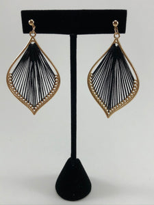 Black String Earrings with gold detail