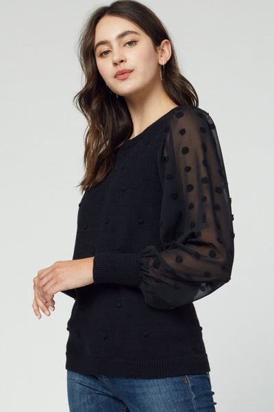 Black Dot Sheer Sleeved Sweater