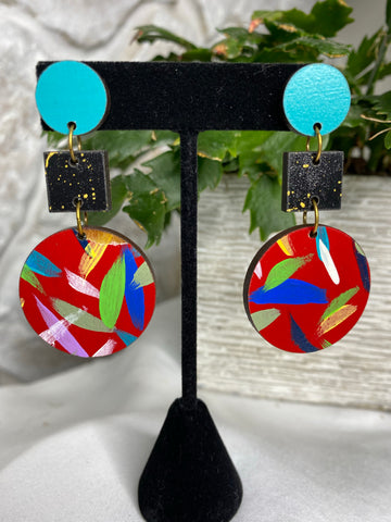 Wooden circle and square- teal black and red