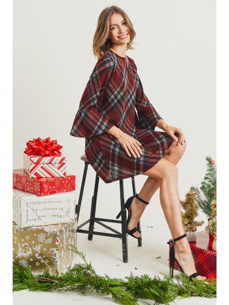 Plaid Dress with Bell Sleeves