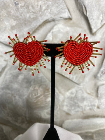 Red and Gold Beaded Heart Earrings