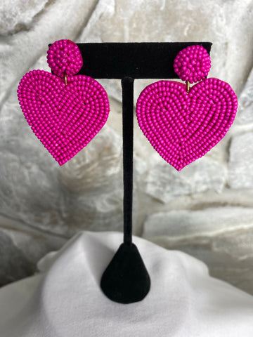 Fuchsia Seed Bead Heart Earrings