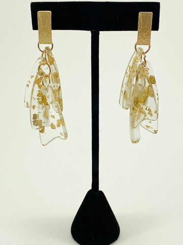 Acrylic with Gold Flecks Dangle Earrings
