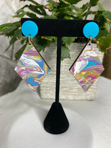 Wooden diamond- turquoise and pink