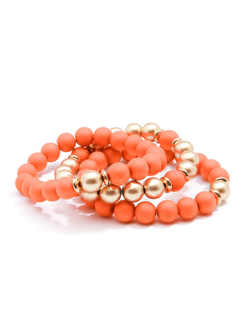 Coral Layered Stretch Bracelet