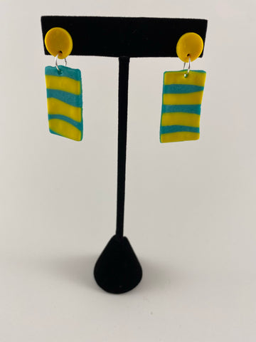 Yellow stripe earrings