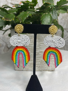 Rainbow and cloud beaded earrings