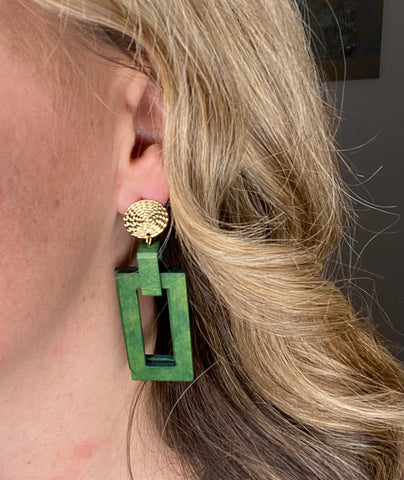 Wooden green rectangle earrings