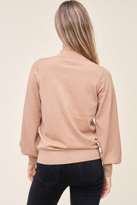 Camel Balloon Sleeve Sweater