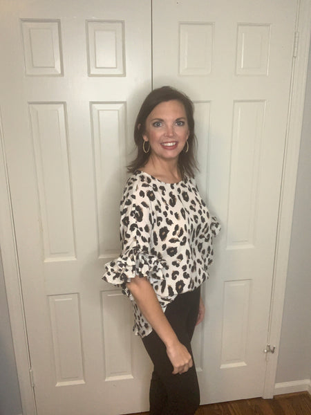 Animal Print Ruffle Sleeve Top