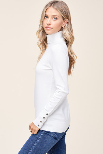 Ivory Turtle Neck Sweater with Cuff Buttons