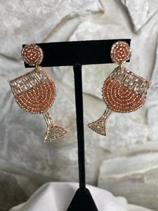 Beaded Wine Glass Earrings