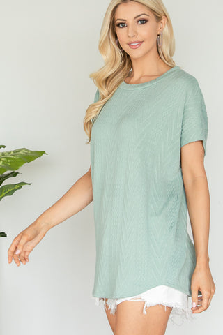 Sage Jacquard Cap Sleeve Knit Top