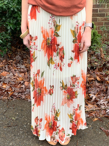 Floral accordion maxi skirt