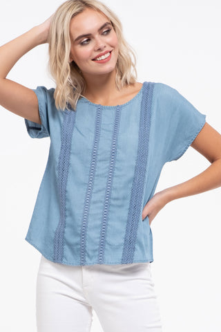 Chambray vertical detail top