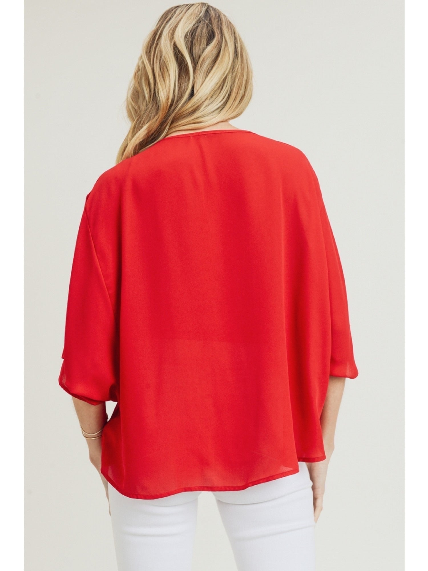 Red Cowl Neck Dolman Sleeve Top