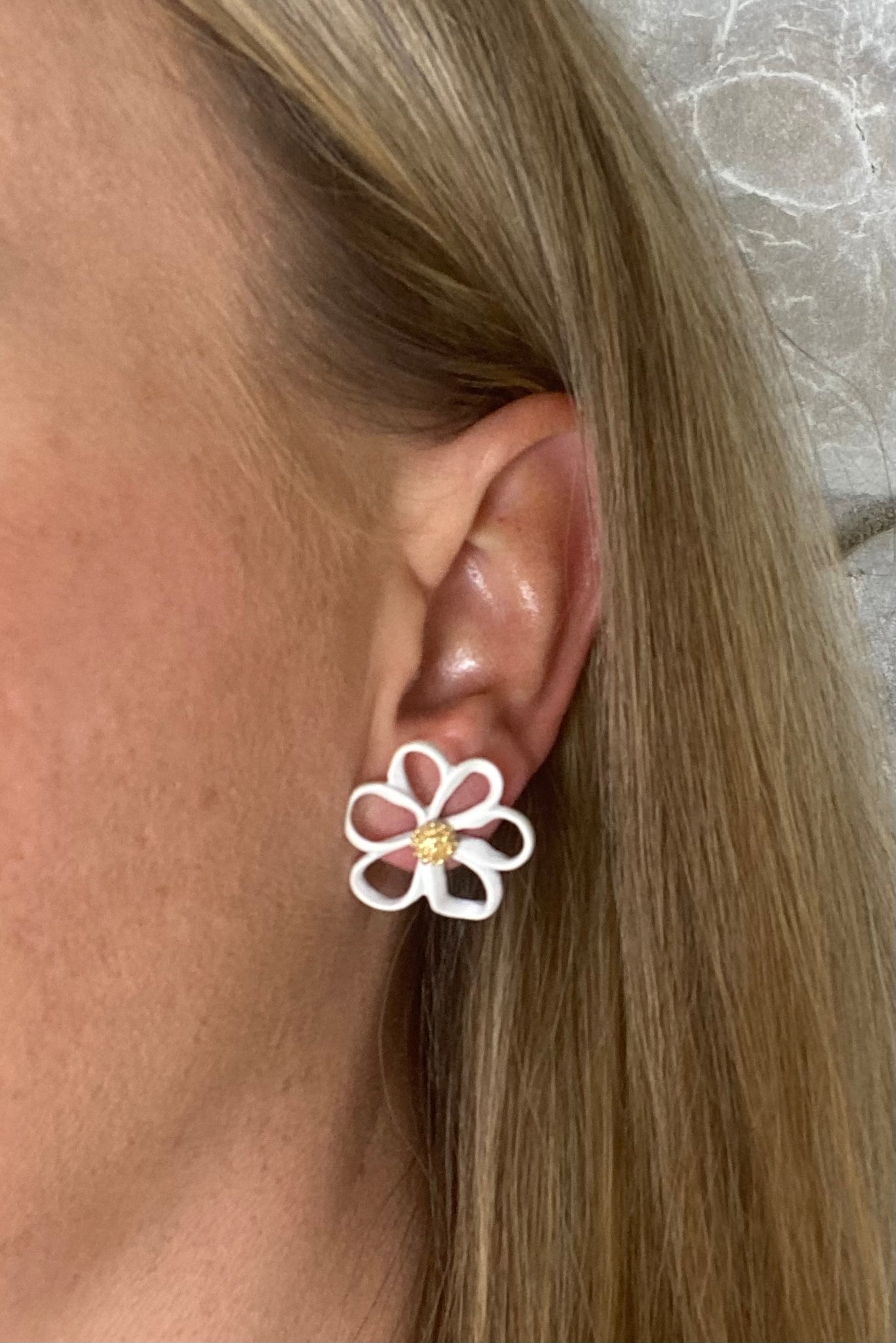 White Coated Flower Studs