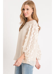 Cream Scalloped Bubble Sleeve Top