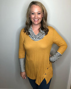 Mustard Waffle knit cowl neck with stripe detail