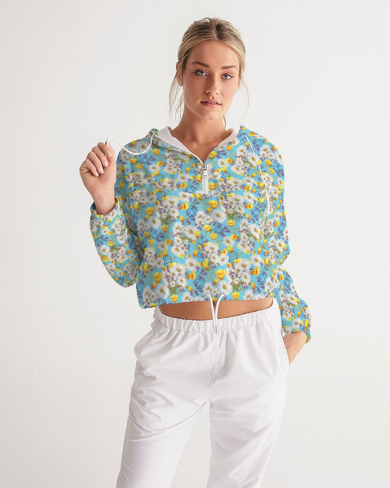 Yellow & White Floral AA Logo Women's Cropped Windbreaker