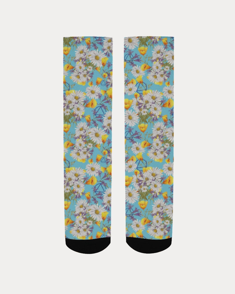 Yellow & White Floral AA Logo Women's Socks