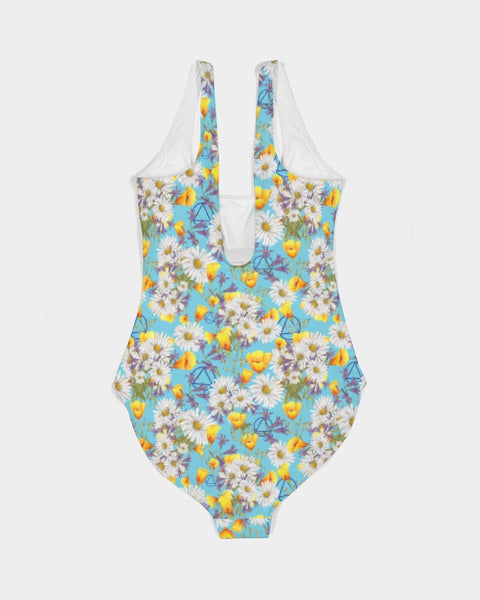 Yellow & White Floral AA Logo One-Piece Swimsuit