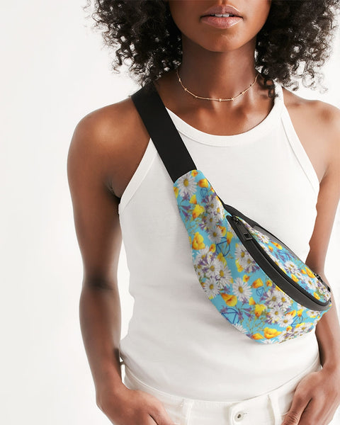 Yellow & White Floral AA Logo Crossbody Sling Bag