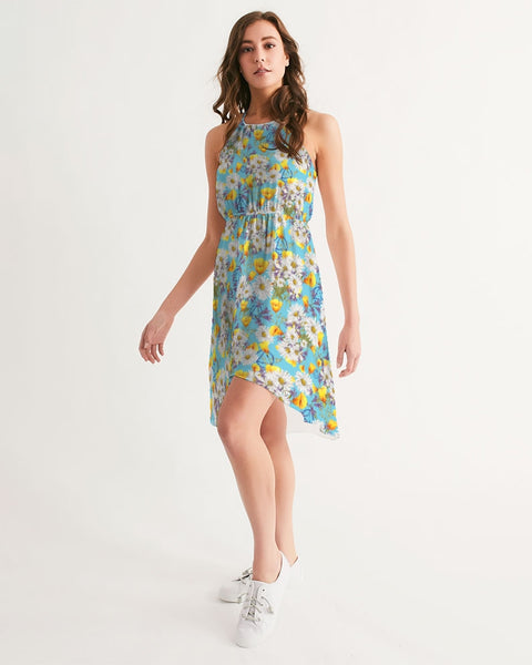 Yellow & White Floral AA Logo Women's High-Low Halter Dress