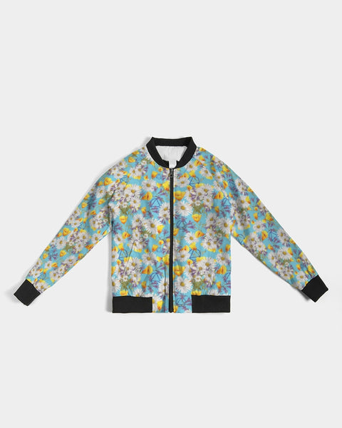 Yellow & White Floral AA Logo Women's Bomber Jacket