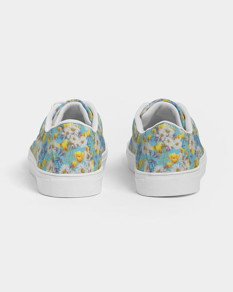 Yellow & White Floral AA Logo Women's Faux-Leather Sneaker
