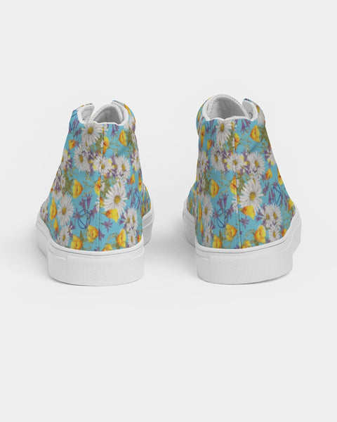 Yellow & White Floral AA Logo Women's Hightop Canvas Shoe