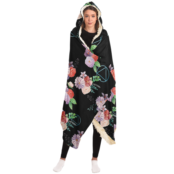 AA Logo Floral Pattern - Hooded Blanket