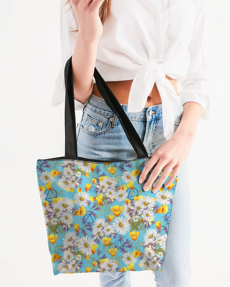 Yellow & White Floral AA Logo Canvas Zip Tote