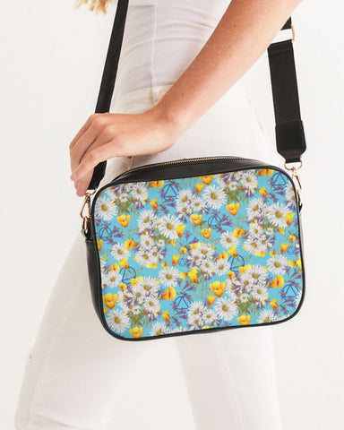 Yellow & White Floral AA Logo Crossbody Bag