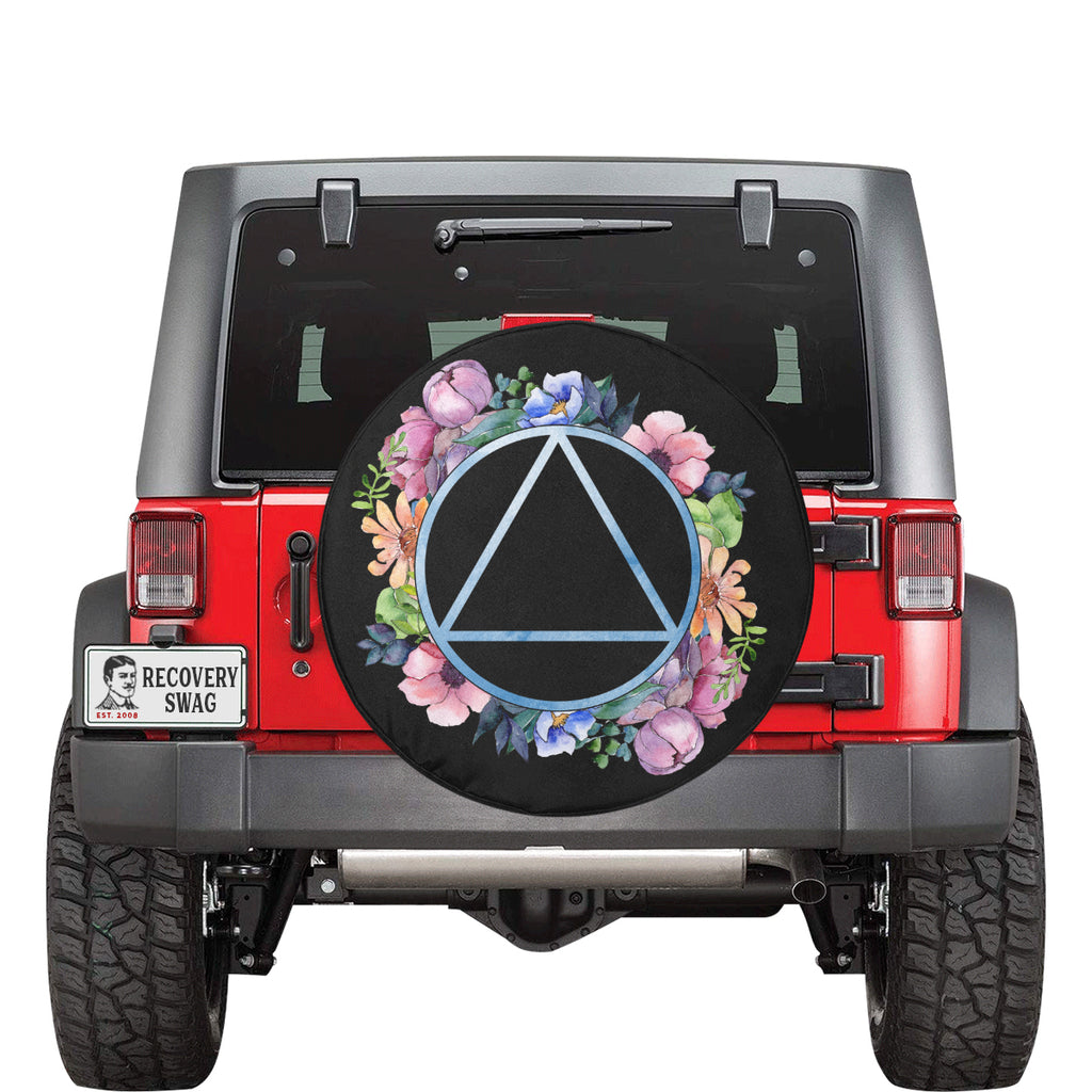 Watercolor Floral Spare Tire Cover