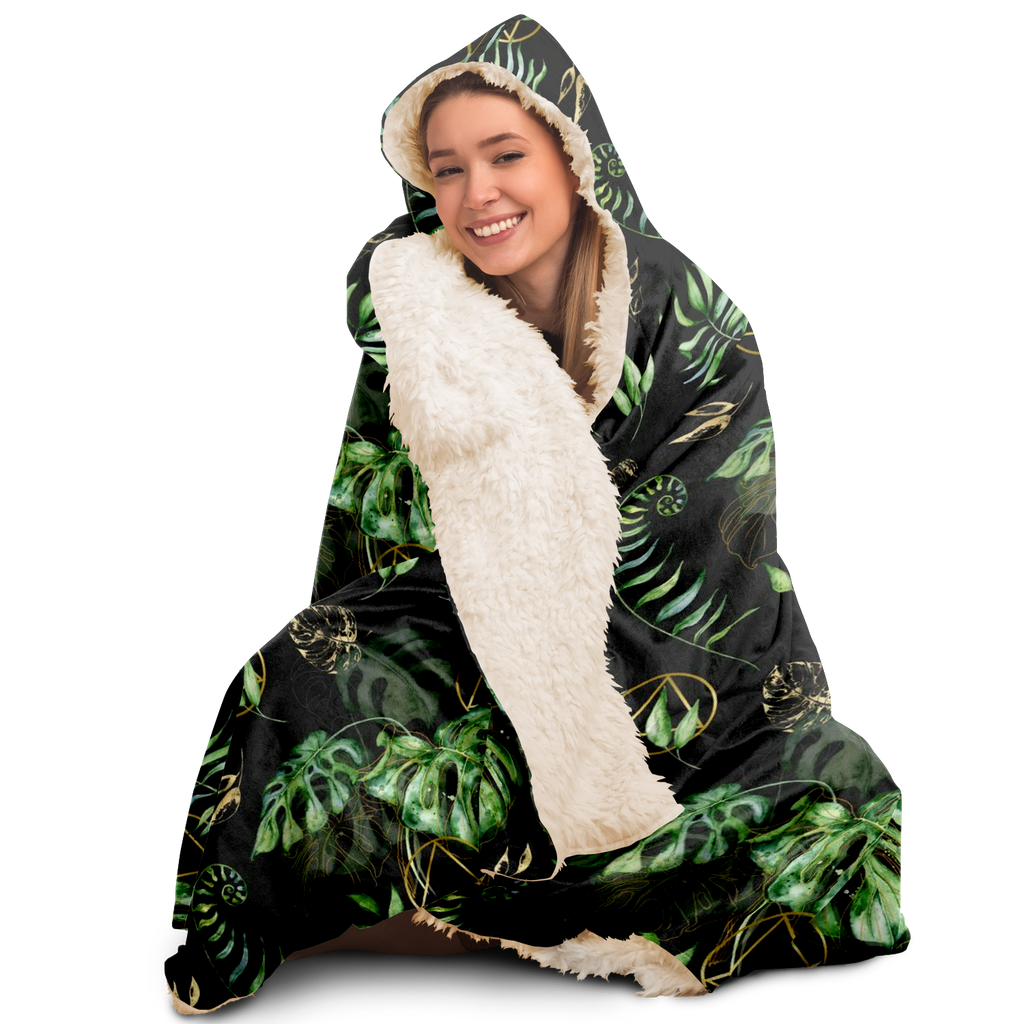 AA Logo and Tropical Leaves Hooded Blanket