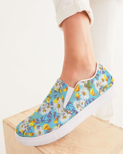 Yellow & White Floral AA Logo Women's Slip-On Canvas Shoe