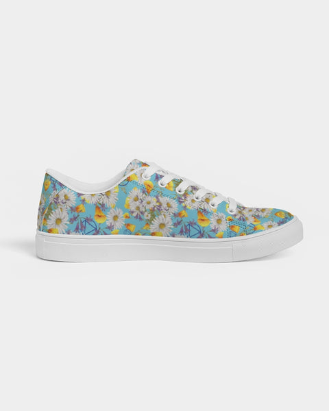 Yellow & White Floral AA Logo Men's Faux-Leather Sneaker
