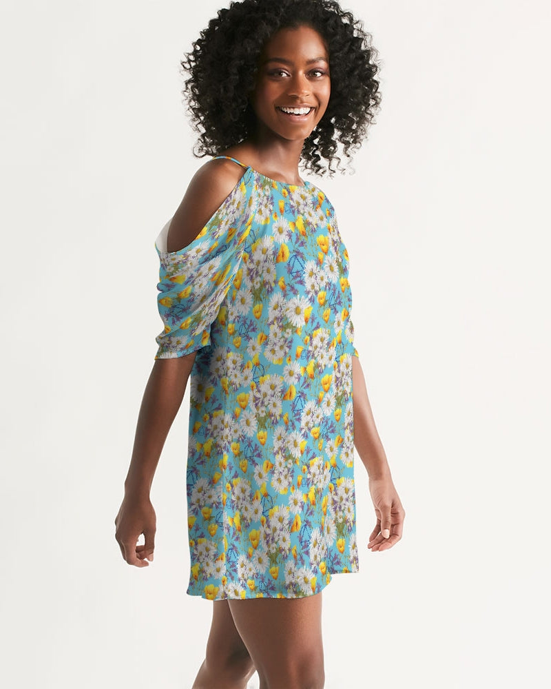 Yellow & White Floral AA Logo Women's Open Shoulder A-Line Dress