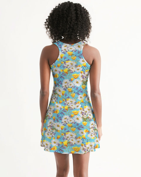 Yellow & White Floral AA Logo Women's Racerback Dress