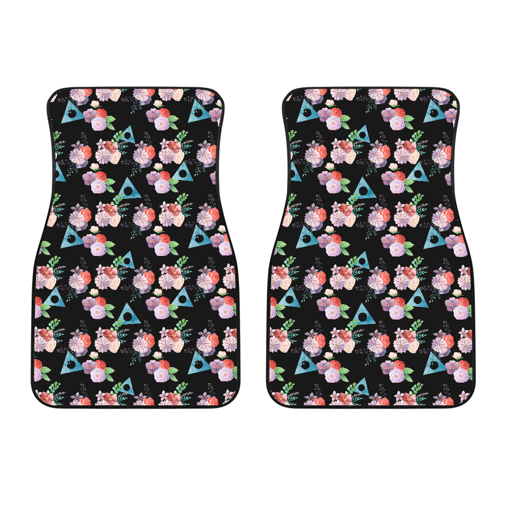 Watercolor Flowers with Alanon Logo - Front Car Mats