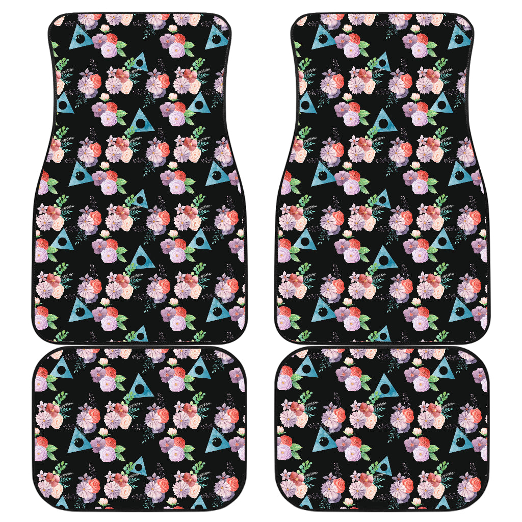 Watercolor Flowers with Alanon Logo Car Mats - Front and Back