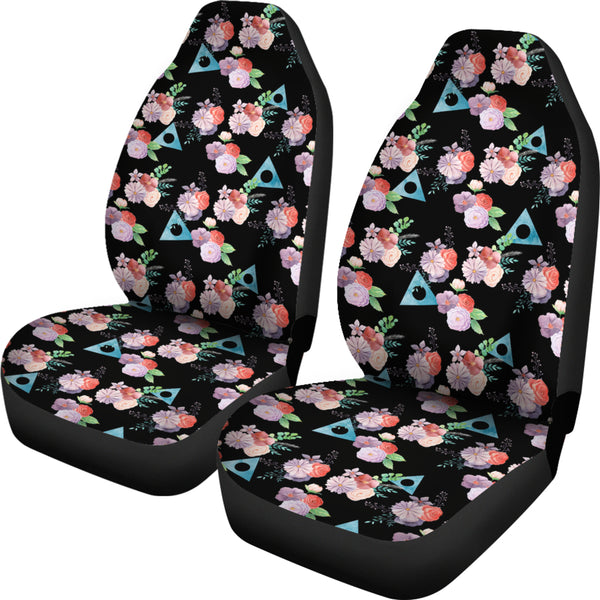 Watercolor Flowers with Alanon Logo Car Seat Covers (Set of 2)