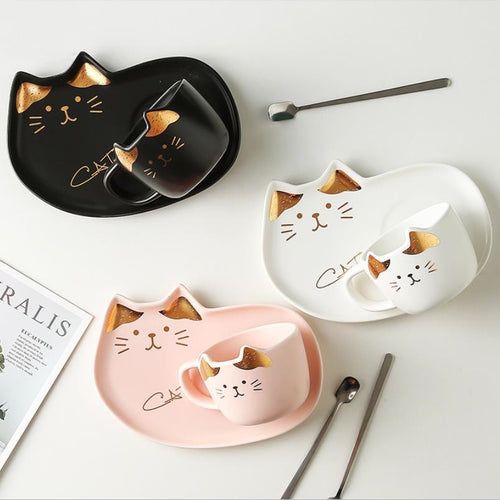 Cat Mug With Serving Tray And Spoon Set (Various Color)