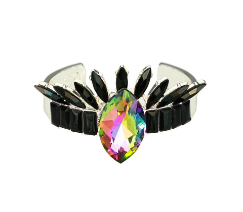 Rainbow Crystal Crown Cuff