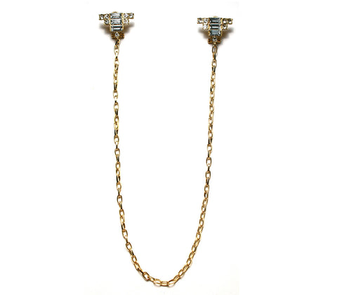 Baguette Stud Earring Necklace
